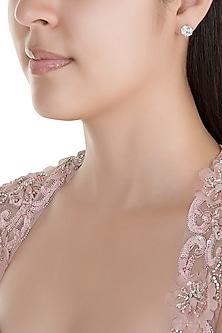 White Finish American Diamond Stud Earrings by Kiwi by Musskan