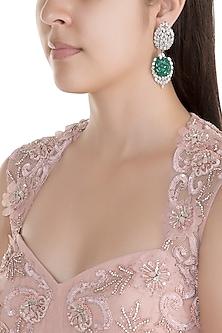 White Finish American Diamond & Green Stone Earrings by Kiwi by Musskan