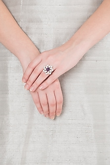 White Finish American Diamond & Purple Stone Ring by Kiwi by Musskan