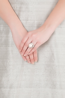 White Finish American Diamond & Pearl Ring by Kiwi by Musskan