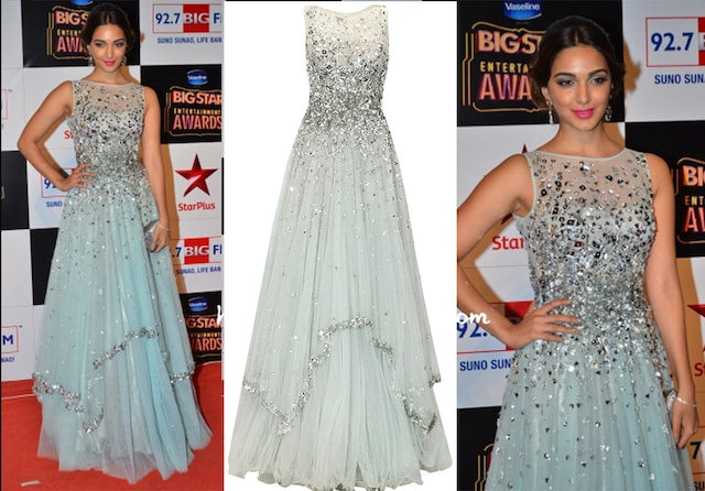 Sky blue and silver laser cut mirror applique work flared gown by Papa Don't Preach by Shubhika