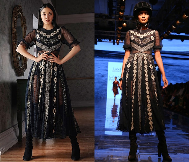 Black Printed Dress With Camisole by Label Ritu Kumar