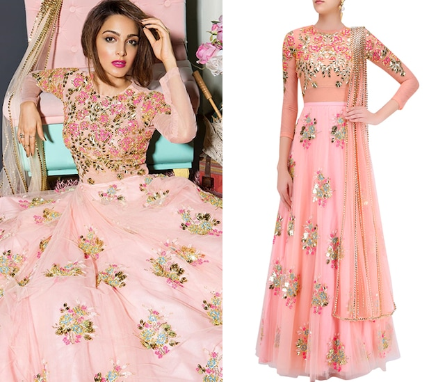 Blush Pink Rose Motifs Lehenga with Bodysuit and Prestitched Dupatta by Papa Don't Preach by Shubhika