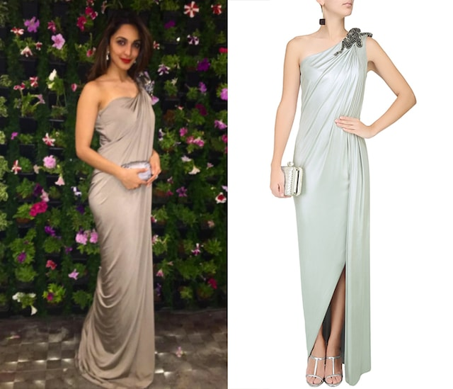 Grey Metal Embroidered One Shoulder Draped Gown by Gaurav Gupta