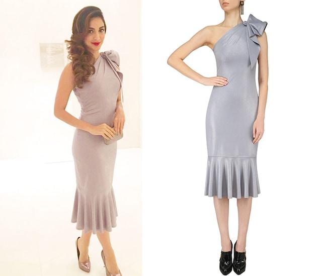 Silver Shimmer One Shoulder Dress by Ritika Bharwani