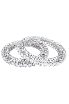 Silver plated diamond bangles by Kiwi by Musskan