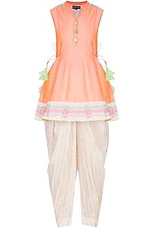 Peach Embellished Dhoti Kurta Set by Kanika J Singh