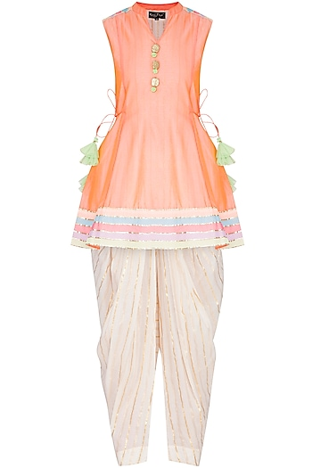 Peach Embellished Dhoti Kurta Set by Kanika J Singh