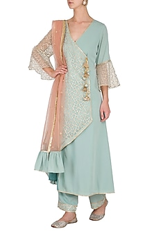Powder Blue Embroidered Asymmetrical Kurta Set by Kanika J Singh
