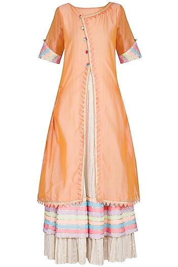 Peach Embellished Layered Kurta With Dupatta by Kanika J Singh