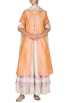 Peach Embellished Layered Kurta With Dupatta by Kanika J Singh