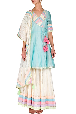 Ice Blue Embellished Angrakha Kurta With Skirt & Dupatta by Kanika J Singh