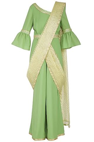 Green Saree Style Gota Jumpsuit by Kanika J Singh