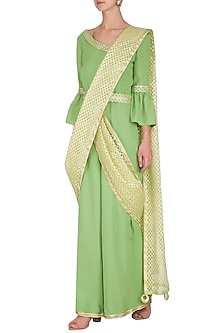 Green Saree Style Gota Jumpsuit by Kanika J Singh