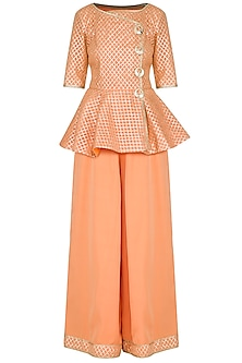 Peach Embellished Peplum Kurta Set by Kanika J Singh