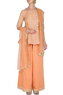 Peach Embellished Peplum Kurta Set by Kanika J Singh