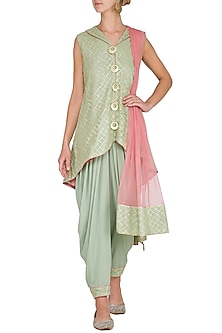 Dull Green Embellished Dhoti Kurta Set by Kanika J Singh