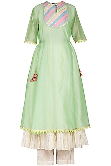 Green Embellished Kurta Set by Kanika J Singh