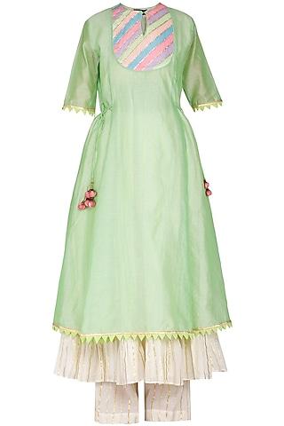 Green Embellished Kurta Set by Kanika J Singh