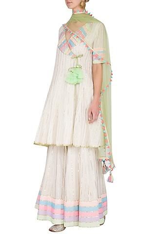 Off White Embellished Sharara Set by Kanika J Singh