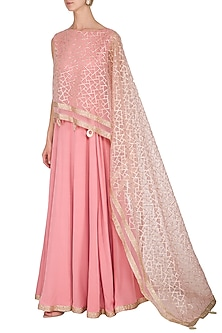 Pink Embellished Anarkali With Attached Cape by Kanika J Singh