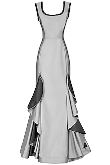 Metallic Grey Frilled Gown by Kanika J Singh