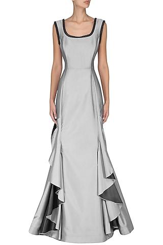 Metallic Grey Frilled Gown by Kanika J Singh