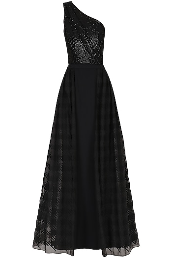 Black One Shoulder Sequin Embroidered Gown by Kanika J Singh