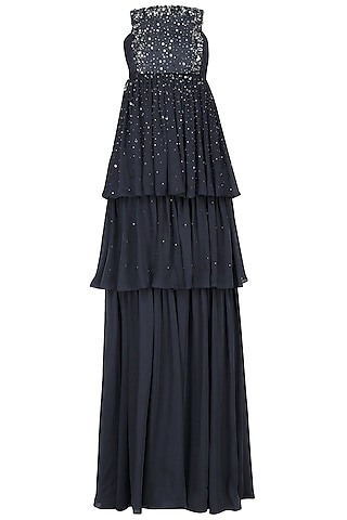 Navy Blue Sprinkle Embroidered Tiered Gown by Kanika J Singh