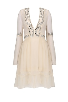 Beige Crystal Embroidered Tulle Dress by Kanika J Singh
