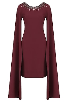 Burgundy Cape Sleeves Dress by Kanika J Singh