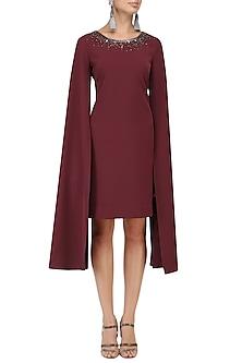 Burgundy Cape Sleeves Dress by Kanika J Singh