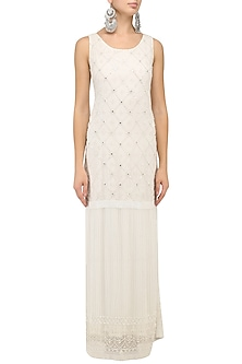 White Embroidered Maxi by Kanika J Singh