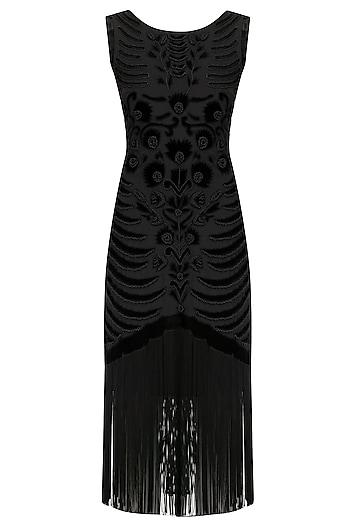 Black Embroidered Tasseled Dress by Kanika J Singh