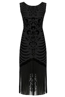 Black Embroidered Tasseled Dress by Kanika J Singh