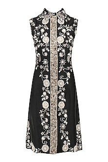 Black Floral Embroidered Dress by Kanika J Singh