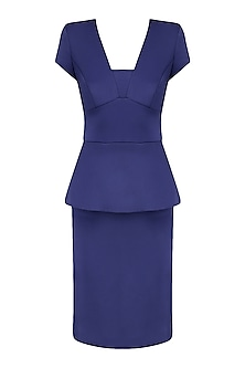 Blue Peplum Dress by Kanika J Singh