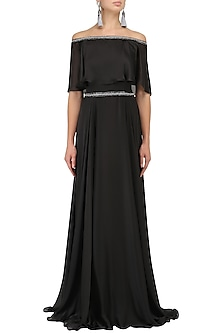 Black Off-Shoulder Cape Gown by Kanika J Singh