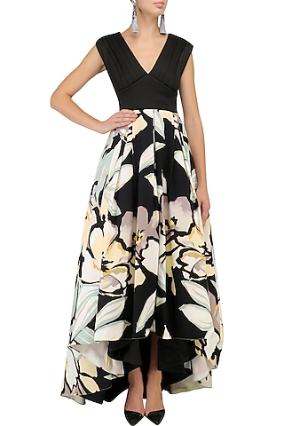 Black Floral Pleated Gown by Kanika J Singh