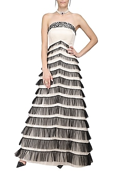White Embroidred Off Shoulder Gown by Kanika J Singh