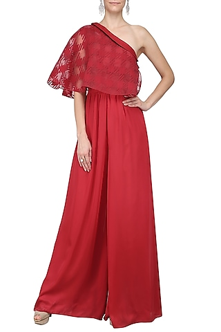 Red One Shoulder Cape Jumpsuit by Kanika J Singh