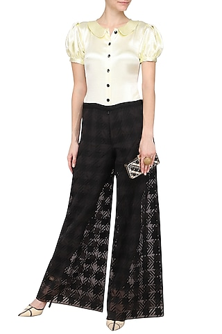 Ivory and Black Embroidered Jumpsuit by Kanika J Singh