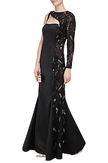 Black Embroidered Gown by Kanika J Singh