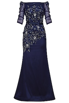 Navy Blue Off Shoulder A Line Gown by Kanika J Singh