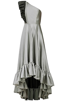 Grey High Low One Shoulder Gown by Kanika J Singh