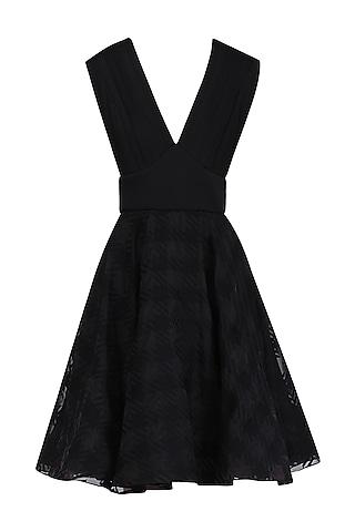 Black Short Flared Dress by Kanika J Singh