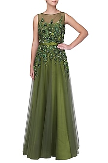 Olive Floral Embroidered Gown by Kanika J Singh