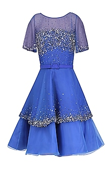 Blue Sprinkle Tier Short Dress by Kanika J Singh