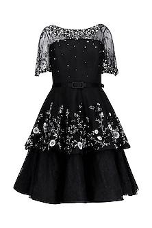 Black Lace Tier Short Dress by Kanika J Singh