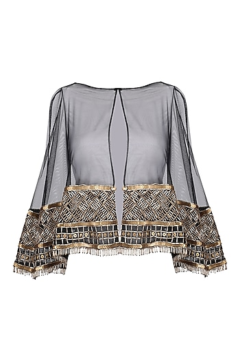 Black and gold embroidered cape by Kanika J Singh